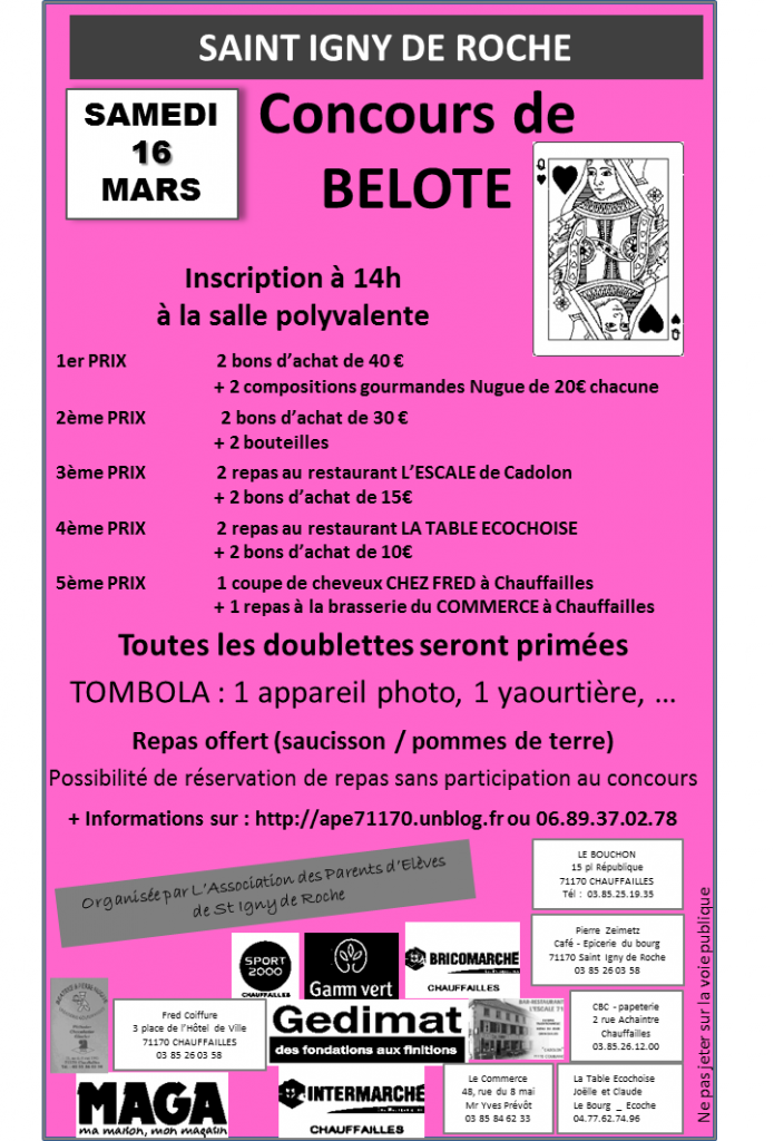 BELOTE DU 16 MARS 2013 de l'Association des Parents d'Elèves de Saint Igny de Roche belote-blog